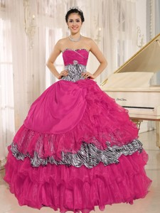 Wholesale Coral Red Sweetheart Ruffles Quinceanera Dress With Zebra and Beading