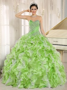 Spring Green Beaded Bodice And Ruffles Custom Made Quinceanera Dress