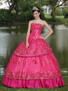 Hand Made Flowers And Beading Floor-length Taffeta Modest Style Quinceanera Dress