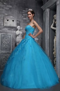 Baby Blue Ball Gown Sweetheart Floor-length Taffeta and Tulle Beading and Appliques Quinceanera Dres