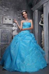 Beautiful Ball Gown Strapless Floor-length Taffeta and Organza Appliques Baby Blue Quinceanera Dress