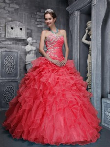 Beautiful Sweetheart Taffeta and Organza Beading and Appliques Red Quinceanera Dress