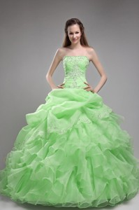 Spring Green Ball Gown Strapless Floor-length Orangza Beading and Ruffles Quinceanera Dress