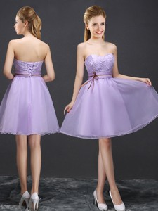Exclusive Belted And Applique Lavender Dama Dress With Lace Up