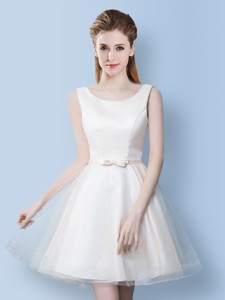 New Style Bowknot Scoop Off White Short Dama Dress In Tulle