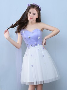 New Applique One Shoulder Dama Dress In White And Lavender