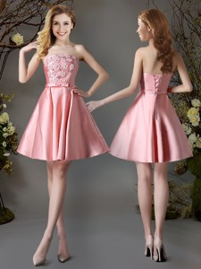 Best Selling Appliques and Bowknot Pink Short Dama Dress in Satin
