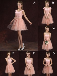 Wonderful A Line Pink Short Dama Dress in Lace and Tulle