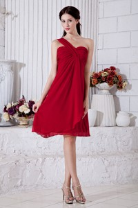 Wine Red Empire One Shoulder Dama Dress Mini-length Chiffon Ruch