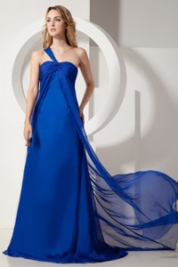 Royal Blue One Shoulder Brush Train Satin And Chiffon Ruch Dama Evening Dress