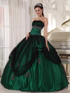 Green Ball Gown Strapless Floor-length Tulle and Taffeta Beading Quinceanera Dress