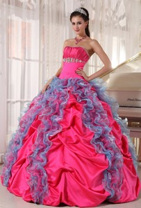 Hot Pink and Aqua Blue Ball Gown Strapless Floor-length Organza and Taffeta Beading and Ruffles Quin
