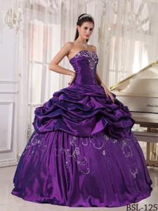 Ball Gown Strapless Floor-length Taffeta Embroidery With Beading Quinceanera Dress