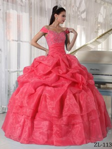Watermelon Ball Gown Off The Shoulder Floor-length Taffeta and Organza Beading Quinceanera Dress