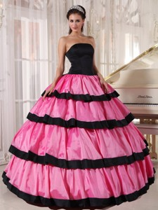 Rose Pink and Black Ball Gown Strapless Floor-length Taffeta Quinceanera Dress