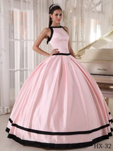 Pink and Black Ball Gown Bateau Floor-length Satin Quinceanera Dress
