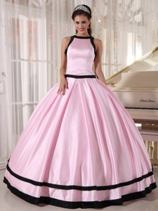 Baby Pink and Black Ball Gown Bateau Floor-length Taffeta Quinceanera Dress