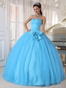 Aqua Blue Ball Gown Sweetheart Floor-length Tulle Beading and Bowknot Quinceanera Dress