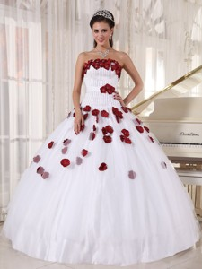 White And Wine Red Ball Gown Strapless Floor-length Tulle Beading Quinceanera