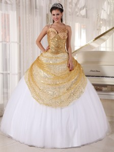 Champagne and White Ball Gown Spaghetti Straps Floor-length Tulle and Sequin Appliques Quinceanera D