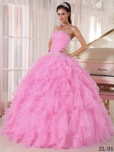 Baby Pink Ball Gown Strapless Floor-length Organza Beading Quinceanera Dress