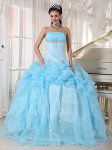 Baby Blue Ball Gown Strapless Floor-length Organza Beading Quinceanera Dress