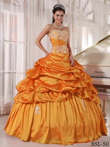Orange Ball Gown Sweetheart Floor-length Taffeta Appliques and Ruch Quinceanera Dress