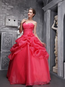Coral Red Ball Gown Sweethrart Floor-length Organza Beading and Ruch Quinceanera Dress