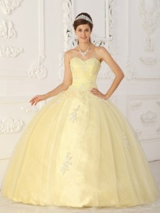 Light Yellow Ball Gown Sweetheart Floor-length Taffeta and Organza Appliques Quinceanera Dress