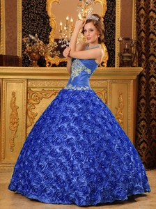 Blue Ball Gown Sweetheart Floor-length Fabric With Rolling Flowers Appliques Quinceanera Dress