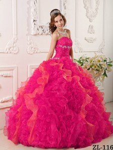 Coral Red Ball Gown Sweetheart Floor-length Organza Appliques and Beading Quinceanera Dress