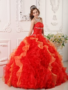 Red Ball Gown Sweetheart Floor-length Organza Appliques and Beading Quinceanera Dress