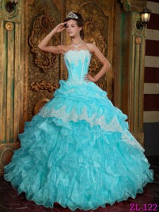 Baby Blue Ball Gown Strapless Floor-length Ruffles Organza Quinceanera Dress