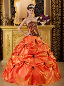 Orange Ball Gown Strapless Floor-length Embroidery Taffeta Quinceanera Dress