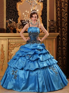 Blue Ball Gown Straps Floor-length Taffeta Appliques Quinceanera Dress