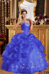 Ryal Blue Ball Gown Strapless Floor-length Embroidery Organza Quinceanera Dress