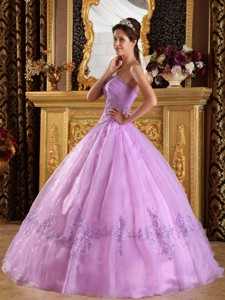 Lavender Ball Gown Strapless Floor-length Appliques Tulle Quinceanera Dress