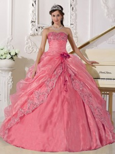 Ball Gown Strapless Floor-length Organza Embroidery with Beading Quinceanera Dress