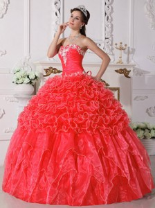 Coral Red Ball Gown Strapless Floor-length Organza Embroidery with Beading Quinceanera Dress