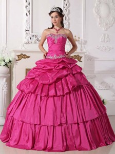 Hot Pink Ball Gown Sweetheart Floor-length Taffeta Beading and Ruch Detachable Quinceanera Dress
