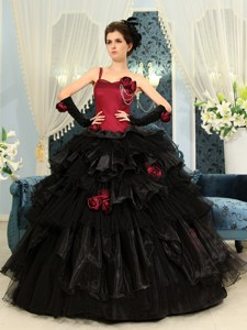 One Shoulder Wine Red And Black Ball Gown Hand Made Flowers Organza Ruffles Quinceanera Dress For Cu