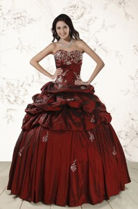 Appliques Wine Red Quinceanera Dress With Lace Up