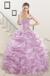 Pretty Appliques And Ruffles Quinceanera Dress In Lilac