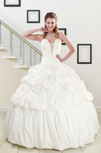 White Taffeta Dress For A Quinceanera With Beading And Pick Ups
