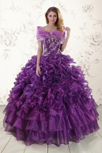 Beautiful Appliques Purple Strapless Quinceanera Dress