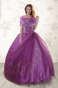 Purple Sweetheart Appliques Quinceanera Dress With Appliques
