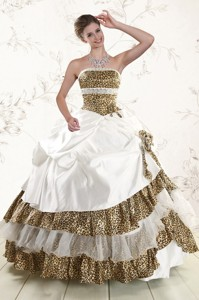 Unique Leopard Quinceanera Dress With Hand Made Flower