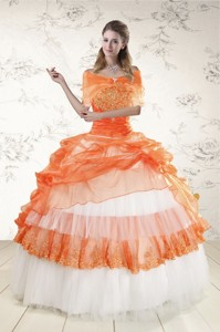 Perfect Strapless Orange Quinceanera Dress With Beading And Appliques