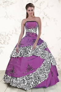 Unique Purple Quinceanera Dress With Embroidery And Zebra