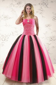 Unique Multi-color Sweet 15 Dress With Beading